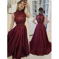 High Neck Beading Appliques Satin With Magnificent Evening Dresses