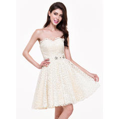 A-Line/Princess Sweetheart Short/Mini Homecoming Dresses With Beading (022214051)