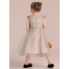 Vestidos princesa/ Formato A Comprimento médio Vestidos de Menina das Flores - Cetim/Tule/Renda Sem magas Decote redondo com fecho de correr (010132398)