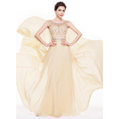Chiffon Sleeveless A-Line/Princess Prom Dresses Scoop Neck Beading Sequins Floor-Length