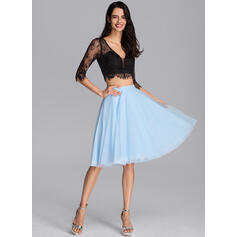 A-Line Knee-Length Tulle Cocktail Dress (016205932)