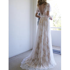 Fashion Tulle Lace Wedding Dresses A-Line/Princess Sweep Train V-neck Short Sleeves