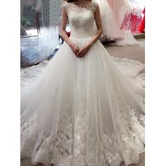 Flattering Royal Train Ball-Gown Wedding Dresses Scoop Tulle Lace Sleeveless