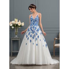 Ball-Gown V-neck Court Train Tulle Wedding Dress With Beading Sequins (002145310)