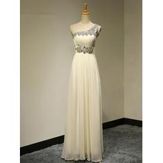 Chiffon Sleeveless A-Line/Princess Bridesmaid Dresses One-Shoulder Beading Floor-Length