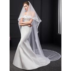 2 couches Bord en ruban Voiles de mariée chappelle