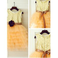 Scoop Neck A-Line/Princess Flower Girl Dresses Tulle/Sequined Flower(s) Sleeveless Tea-length (010212046)