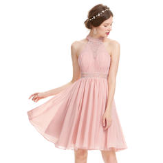 A-Line/Princess High Neck Knee-Length Chiffon Homecoming Dresses With Ruffle Beading Sequins (022214135)