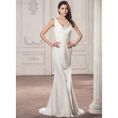 Trumpet/Mermaid Cowl Neck Sweep Train Jersey Wedding Dress (002059192)
