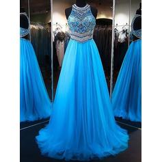 Sleeveless A-Line/Princess Tulle Beading Appliques Sequins Prom Dresses