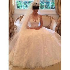 Elegant Scoop A-Line/Princess Wedding Dresses Court Train Tulle Sleeveless