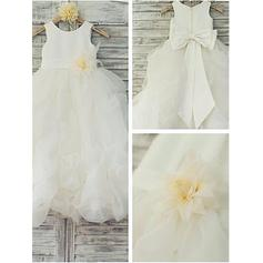 Scoop Neck Ball Gown Flower Girl Dresses Flower(s)/Bow(s) Sleeveless Floor-length