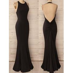 Trumpet/Mermaid Halter Jersey Sleeveless Floor-Length Ruffle Evening Dresses