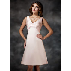 Empire Satin Bridesmaid Dresses Ruffle V-neck Sleeveless Knee-Length