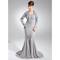 Trumpet/Mermaid Chiffon Sleeveless Halter Court Train Zipper Up Mother of the Bride Dresses (008005952)