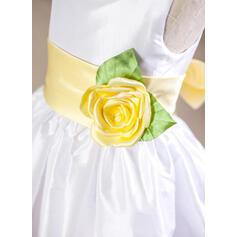 Forme Princesse Longueur genou Robes à Fleurs pour Filles - Taffeta Sans manches Col rond avec Ceintures/Fleur(s)/À ruban(s)/V retour (010094160)