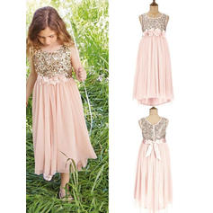 Beautiful Tea-length A-Line/Princess Flower Girl Dresses Scoop Neck Tulle/Sequined Sleeveless