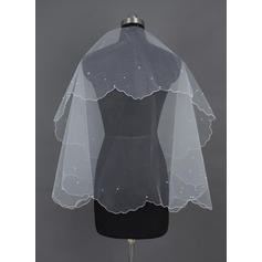 Elbow Bridal Veils Tulle One-tier Classic With Scalloped Edge Wedding Veils