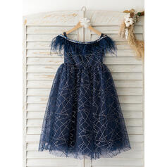 A-Line Tea-length Flower Girl Dress - Tulle Short Sleeves Off-the-Shoulder With Feather (010193053)
