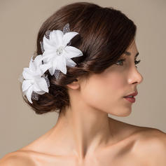 "Flowers & Feathers Wedding/Special Occasion Satin 3.94""(Approx.10cm) 3.15""(Approx.8cm) Headpieces"