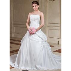 Luxurious Court Train Strapless A-Line/Princess Taffeta Wedding Dresses (002196860)