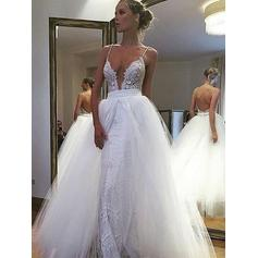 Sexy Deep V Neck A-Line/Princess Wedding Dresses Floor-Length Tulle Lace Sleeveless (002210854)