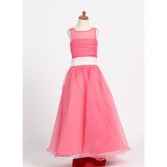Stunning Scoop Neck A-Line/Princess Flower Girl Dresses Floor-length Taffeta/Organza Sleeveless