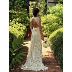 Sheath/Column Lace Sleeveless V-neck Sweep Train Wedding Dresses (002144847)
