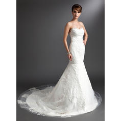 Lace Sleeveless Sweetheart Tulle Trumpet/Mermaid Wedding Dresses (002196895)