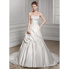 simple white satin wedding dresses