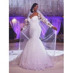 Glamorous Court Train Trumpet/Mermaid Wedding Dresses Sweetheart Tulle Long Sleeves