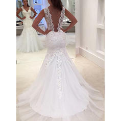Sleeveless Regular Straps Tulle Trumpet/Mermaid Wedding Dresses