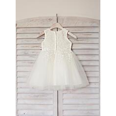Vestidos princesa/ Formato A Coquetel Vestidos de Menina das Flores - Cetim/Tule Sem magas Decote redondo com Renda (010090655)
