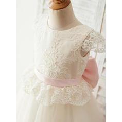 Forme Princesse Longueur genou Robes à Fleurs pour Filles - Satiné/Tulle/Dentelle Manches courtes Col rond avec À ruban(s)/Trou noir (bande détachable) (010144179)