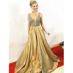 Beading A-Line/Princess Satin Newest Sleeveless Prom Dresses (018217343)
