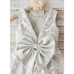 Forme Princesse Longueur genou Robes à Fleurs pour Filles - Dentelle Sans manches Col rond avec À ruban(s)/V retour (010117696)