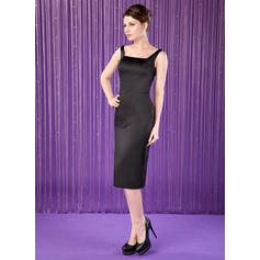 Sheath/Column Satin Sleeveless Square Neckline Knee-Length Zipper Up Mother of the Bride Dresses (008006311)