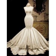 Sweetheart Trumpet/Mermaid Wedding Dresses Satin Beading Appliques Sequins Sleeveless Cathedral Train