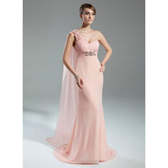 Empire One-Shoulder Chiffon Sleeveless Watteau Train Ruffle Beading Flower(s) Mother of the Bride Dresses