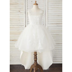 A-Line Asymmetrical Flower Girl Dress - Tulle/Lace Sleeveless Scoop Neck (010193061)