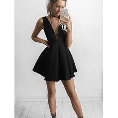 Elegant Satin Homecoming Dresses A-Line/Princess Short/Mini V-neck Sleeveless