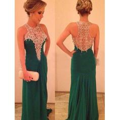 Chiffon Sleeveless Sheath/Column Prom Dresses Scoop Neck Beading Sweep Train