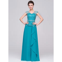 A-Line/Princess Chiffon Sleeveless V-neck Floor-Length Zipper Up Mother of the Bride Dresses (008210605)