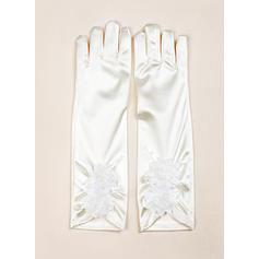 Elastic Satin Children's Gloves Flower Girl Gloves Fingertips S:28cm/M:32cm Gloves