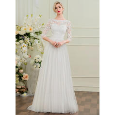 A-Line/Princess Scoop Neck Sweep Train Tulle Lace Wedding Dress With Beading Sequins Bow(s) (002097354)