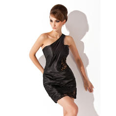 Sheath/Column One-Shoulder Short/Mini Charmeuse Cocktail Dresses With Ruffle Lace (016008859)