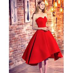 Ruffle A-Line/Princess Tea-Length Satin Homecoming Dresses