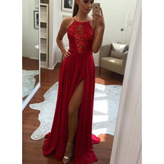 Sleeveless A-Line/Princess Chiffon Appliques Split Front Prom Dresses (018148418)