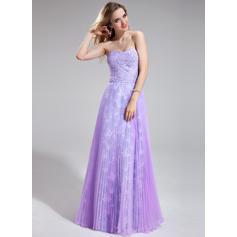 Organdí Encaje Elegante Corte A/Princesa Hasta el suelo Vestidos de baile de promoción (018025276)