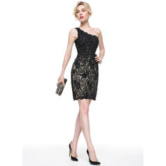 Glamorous Sheath/Column One-Shoulder Lace Cocktail Dresses